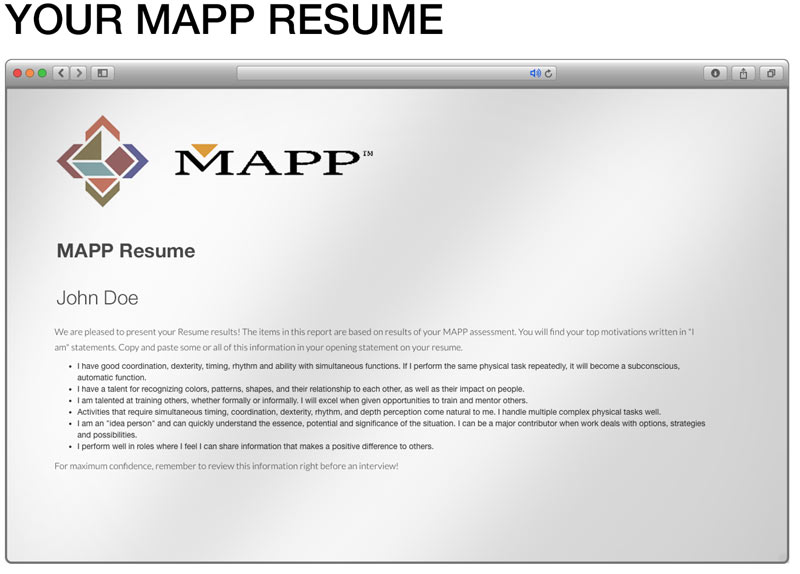 your mapp resume - Free Career Assessment Tests Review